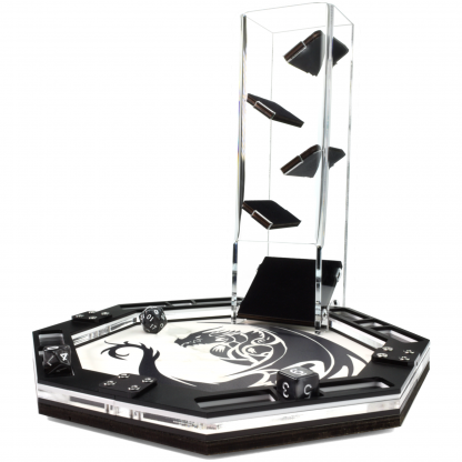 Octagon dice tray white dragon print and velvet dice tower